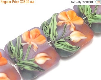 ON SALE 30% OFF Glass Lampwork Bead Set - Four Orange Frosted Glass Pillow Beads 10603614