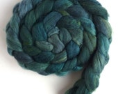 Pre-Order Colorway, Polwarth/Silk Roving - Handpainted Spinning or Felting Fiber, Holly Green