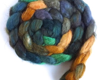 Blueface Leicester/ Tussah Silk Roving (Top) - Handpainted Spinning or Felting Fiber,  Treeline Greens