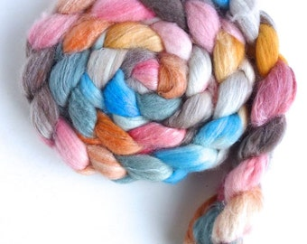 Merino/ Superwash Merino/ Silk Roving (Top) - Handpainted Spinning or Felting Fiber, Fallen Petals