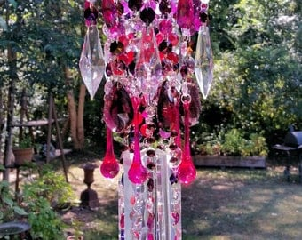 Aubergine Antique Crystal Wind Chime, Fruits and Flowers Crystal Wind Chime, Magenta Crystal Wind Chime, Garden Decoration, Window Decor
