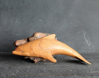 Vintage Hand Carved Wood Dolphin, Nautical Beach House Decor, Mid Century Wall Fish