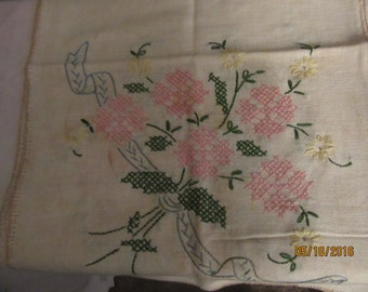 40 inch dreser  scarf   in   pink  flowers and green leaves