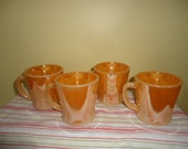 Set of Vintage 4 Fire King Peach Luster Mugs Retro Kitchenalia Cups