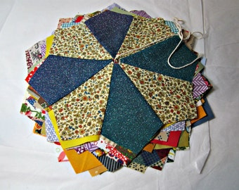20 Pre cut and sewn quilting fabrics 20 quilt pcs Fabric bundle of pre sewn quilting pieces. Dresden Plate.
