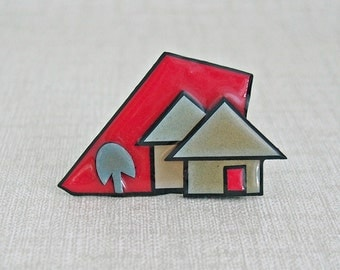 Vintage LUCINDA c. 1990 ~ Red Gray Black ~ Deco Vibe HOUSE Pin Brooch FINE