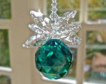"Car Charm, Swarovski Crystal Suncatcher for Rear View Mirror, Green Crystal Ball with Clear Cluster - Available in 11 Colors - ""BELLA"""