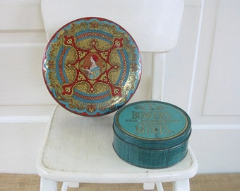 PAIR Vintage Metal Biscuit Tins, Metal Box, Aqua Tin, Vintage Candy Tin, Vintage Storage