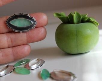Persimmon, Ripening Fruit….sterling silver, Australian chrysoprase, ring, size 6.5