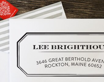 Custom Return Address Stamp, Wedding Gift, Anniversary Gift, Self Inking Stamp, Wood Stamp, Circle Stamp, Housewarming Gift - 1214