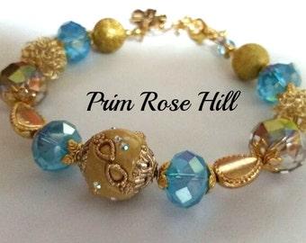 Blue and Gold DIABETES Alert Bracelet