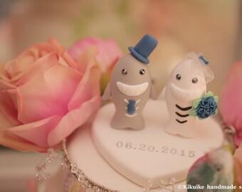 sharks  wedding cake topper--k610