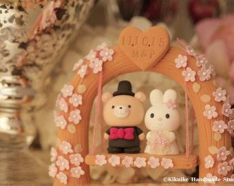 rabbit and bear wedding cake topper