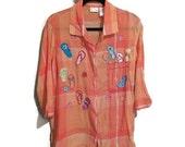 Orange Madras Blouse, Embroidered Flip Flops Shirt, Vintage 90s Orange Blouse, Cropped Sleeve Breezy Summer Sandals Shirt, Orange Plaid M