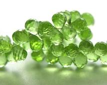 Lighter Peridot Green Hydrothermal Quartz Natural Briolettes, Half Strand, 30 Teardrop Beads Faceted
