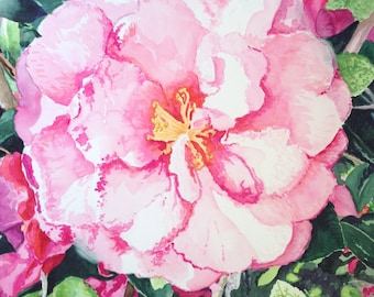 Original watercolor painting pink camellia floral wall art by Paige Smith-Wyatt