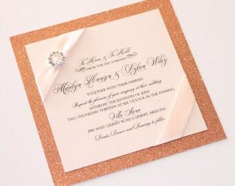 Rose Gold Glitter Wedding Invitation - Blush Pink Wedding Invitation  - Elegant Wedding Invitation - Romantic Wedding - Marilyn Sample
