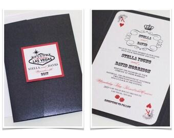 Las Vegas Wedding Invitation, Casino Invitation, Playing card Invitation, Casino Themed Party, Black Metallic, White, Red - Sample - Stella
