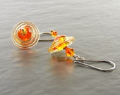 Tangerine Orange & Fire Opal Earrings, SRA Lampwork Glass Sterling Silver Earrings, Handmade in the UK