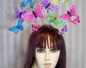 Kentucky Derby Butterfly Fascinator Hat, Rainbow of Colors, Belmont, Wedding, Tea Party Hat, Preakness Fascinator, Flower Girl