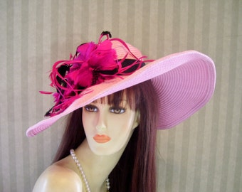 "Pink Kentucky Derby Hat Easter Hat, Big Brim Hat, ""Run for the Roses"" Tea party, Ascot, Preakness, By Ms.Purdy"
