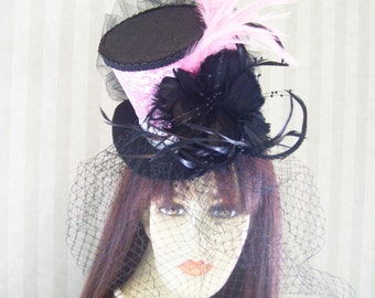 "Kentucky Derby Hat, ""Pink Couture"" Wedding hat, Alice in Wonderland Mad Hatter Tea Party Hat"