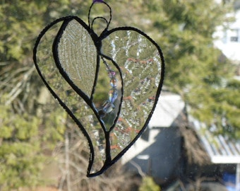 Diamond in the Rough Stained Glass  Beaded Heart iridescents, clears and crystals