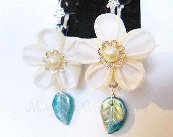 Tsumami silk flower earrings with glass leaves