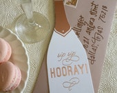 Sip Sip Hooray! Rose Gold Foil Champagne Bottle Card