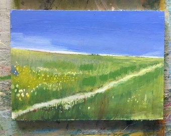 Field, original acrylic painting on linen canvas board