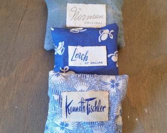 Vintage Fabric Lavender Sachets with Vintage Clothing Label, Home Fragrance Dried Lavender Flower Sachets