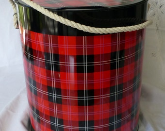 Vintage Plaid Drum Cooler Ice Bucket Highlander by Prestige