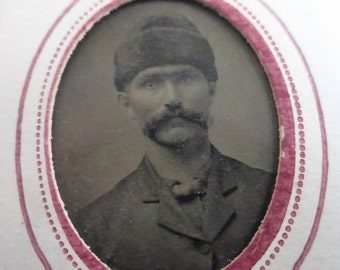 Antique Tiny Tin Type Portrait of Man with a Large Mustache and a Fur Hat
