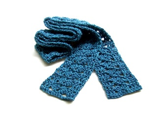 Boho Scarf - Crochet Skinny Scarf - Summer Neck Wrap - Womens Neck Scarf - Heather Blue