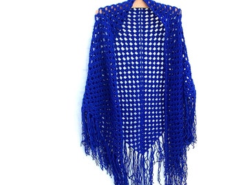 Royal Blue Fringe Shawl - Crochet Triangle Shawl - Fringe Wrap - Hippie Shawl - 70's Shawl