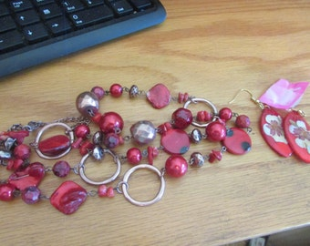 red shell necklace & earrings