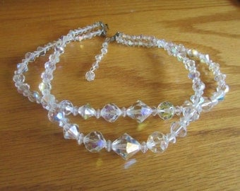 double cystal bead necklace