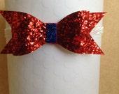 Red, White & Blue Baby Headband, Patriotic Headband, Red Sparkle Bow, July 4th Baby Headband, Glittered Baby Headband, Fourth of July