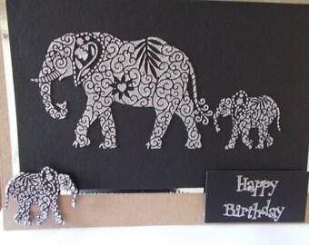 Lovely Birhday card with a Elephant and baby elephant
