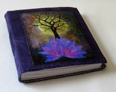 base of change journal - waxed purple canvas cover, tree growth, purple lotus