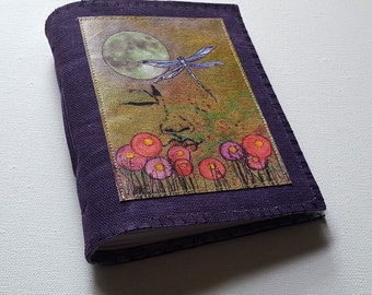 Peaceful Moments 07 journal - purple waxed canvas journal