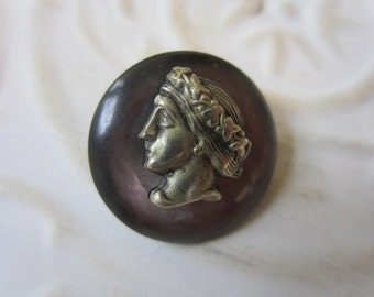 Vintage Buttons - 1 Collector molded metal, inset over mother of pearl  Roman  cameo design  (oct9b)