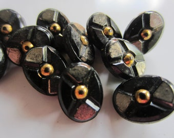 Vintage Buttons -  beautiful lot of 13 matching oval hand painted jet black glass, pressed design,  (nov 114b)