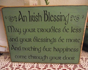 An Irish Blessing  -  primitive wood sign  -  St. Patrick's Day