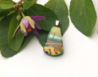 Fused dichroic glass pendant, necklace, brown