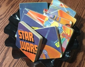 STAR WARS and Other Galatic Funk upcycled album art coasters with record bowl