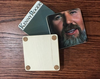 KENNY ROGERS handmade wood coasters & record bowl from recycled Love or Something Like It music album