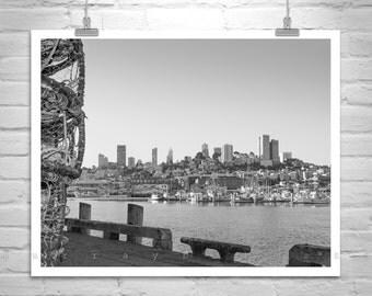 Black and White, San Francisco Print, Art Photography, Fishermans Wharf, California Art, Cityscapes, Waterfront Art