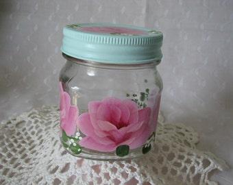 Glass Storage Jar with Aqua Lid Hand Painted Pink Roses Bath Kitchen storage