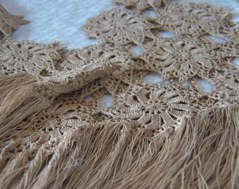 Beautiful Hand Crocheted Trim with Fringe - two pieces
